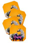 DENY Designs Clara Nilles Painted Ponies On Papaya Creme Coasters, Set of 4