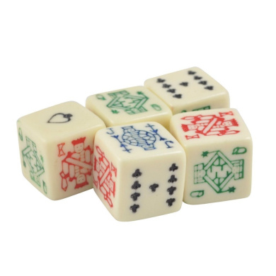 Set of 5 Ivory Colour Dice Poker Face Round Corner 16mm in Snow Organza Bag
