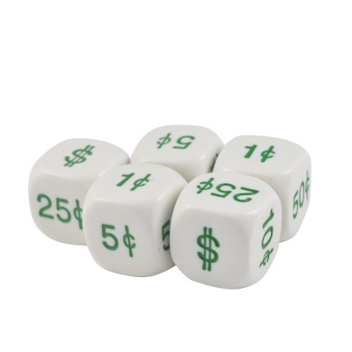 Set of 5 White Opaque Dollar Cents Round Corner 16mm Dice in Snow Organza Bag