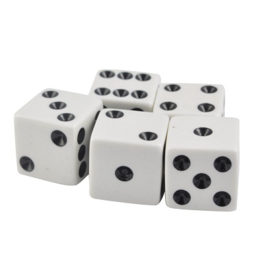 Set of 5 White Opaque Dice 12mm Black Spots in Snow Organza Bag