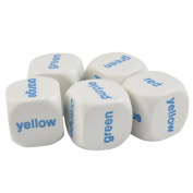 Set of 5 Educational Dice Colours in English 19mm White Dice in Snow Organza Bag