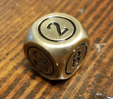 1x Command Zone Metal Dice, Antique Bronze Colour / for Commander EDH Tiny Leaders Magic: The Gathering MTG Die
