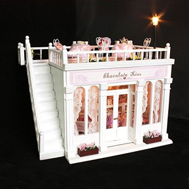 Cuteroom DIY Wooden Dollhouse Chocolate Handmade Decorations Model with LED Light and Music