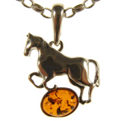 BALTIC AMBER AND STERLING SILVER 925 DESIGNER COGNAC HORSE PENDANT JEWELLERY jewellery