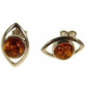 BALTIC AMBER AND STERLING SILVER 925 DESIGNER COGNAC EARRINGS JEWELLERY jewellery