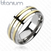 Solid Titanium Double Gold Coloured IP Round Stripe Band Ring - Width