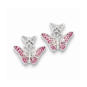 Sterling Silver Rhodium Pink Stellux Crystal Butterfly Post Earrings