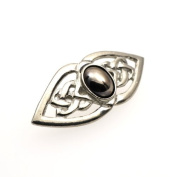 Handmade Celtic Double Knot Hematite Moonstone Pewter Brooch