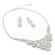 Silver Crystal Chandelier Necklace & 3 Teardrop Pear Shape Dangle Earrings Jewellery Set