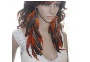 Long Feather Earrings for Women Natural Orange Feather Earrings for Women
