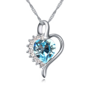 Sojewe Fashion Jewellery Silver tone Heart shaped Pendant Necklace Blue Elements Crystal 46cm Chain for Women,Girlfriend,Mom or Teen girl