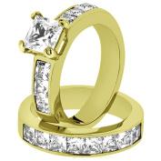 Women's Stainless Steel 316 Princess Cut 3.75 Carat Zirconia Wedding Ring Set