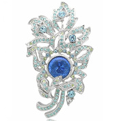 Art Deco Brass Flower Brooch Pin with Multi-Coloured CZ