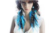 Long Feather Earrings for Women Blue Turquoise Feather Earrings for Women