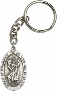 Antique Silver-Plated St. Christopher Keychain 4.1cm x 2.5cm
