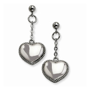 Stainless Steel Heart Post Dangle Earrings