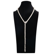 Romantic Time Classical White Shell Pearl Diamond Pendant Necklace