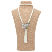 "Romantic Time ""Love Peacock"" Cultured Pearl with Pear Diamond Cut Pendant Necklace"
