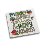 DEMDACO Merry Everything Coaster and Greeting Card, Multicolor