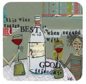 Boston International Cork Coasters, Wine by Curly Girl, Set of 4