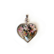 Colourful Floating Chipstone Alloy Heart-Shaped Pendant With Necklace Jewellery Valentine Gift