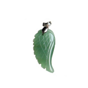 Semi-precious Angel Wing Gemstone Pendant Necklace 46cm Green Aventurine