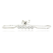 Five Round Linked Bracelet 35 Round Cubic Zirconia Silver Plated Box Chain