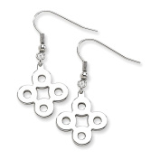 Stainless Steel Polished Connected Circles Dangle Earrings