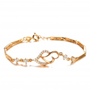 My.Monkey Hearts Diamonds Design Contracted Shinny Rosegold Girl Bracelet