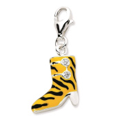 925 Sterling Silver CZ Enamel 3-D Tiger High Heel Boot w/ Lobster Clasp Charm - Amore La Vita Collection
