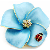 Blue Hawaiian Plumeria With Red Ladybug Crystal Pin Brooch and Pendant