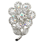 White Crystal Flower Pin Brooch And Pendant