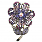 Purple Crystal Flower Pin Brooch And Pendant