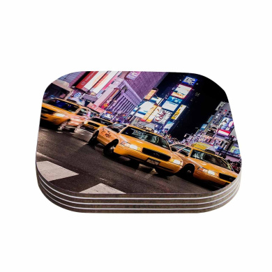 "KESS InHouse Juan Paolo ""Rush Hour"" Travel Urban Coasters (Set of 4), 10cm x 10cm , Multicolor"