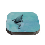"""Kess InHouse Graham Curran """"Shark Record III"""" Coasters, 10cm by 10cm , Teal/Pink, Set of 4"""