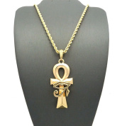 Letter Love Fashion Eye Of Heru Ankh Cross Pendant & 60cm Rope Chain Hip Hop Necklace