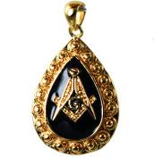 Masonic Pendant Black Enamel Teardrop Shape 18k Gold Overlay GFJCLR20