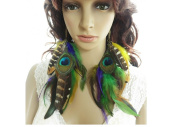 Peacock Feather Earrings for Women Colourful Natural Feather Earrings