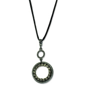 Black-plated Black Crystal Circle 41cm With ext Satin Cord Necklace