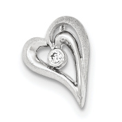 .925 Sterling Silver Polished and Satin CZ Heart Chain Slide Pendant