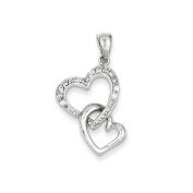 .925 Sterling Silver Heart CZ Charm Pendant