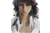 Long Feather Earrings for Women White Peacock Natural Feather Earrings