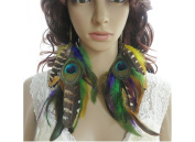 Long Feather Earrings for Women Colourful ChainNatural Feather Earrings
