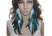 Long Feather Earrings for Women Blue & White Natural Feather Earrings