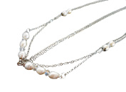Khum Wieng Kham Women's Hair Chain Accessory Silver Chains with Pearls and Crystal Beads