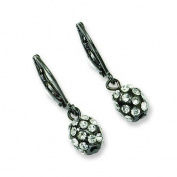 Black-plated Clear Crystal Fireball Leverback Earrings