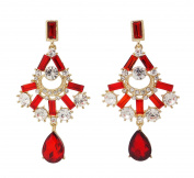 Scarlet Red Dangle Earrings with Clear Crystals