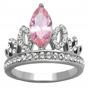 1.6 ct Pink Marquise Crown Ring Designer Fashion Stainless Steel