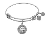 "Angelica Collection Non-antique Stipple Finish Brass ""apple; Teach, Inspire"" Expandable Bangle"