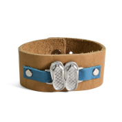 Vilmain Flip-Flops Cuff Bracelet with Rustico Leather Band, Blue/Light Brown